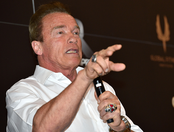 MELBOURNE, AUSTRALIA - MARCH 15:   Arnold Schwarzenegger speaks to guests at the Arnold Classic at The Melbourne Convention and Exhibition Centre on March 15, 2015 in Melbourne, Australia.  (Photo by Vince Caligiuri/Getty Images)