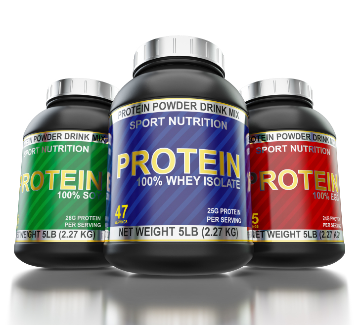 Sport nutrition and bodybuilding fitness supplements concept - whey isolate, soy and egg protein cans on white background with reflection, wide angle shot from low point of view