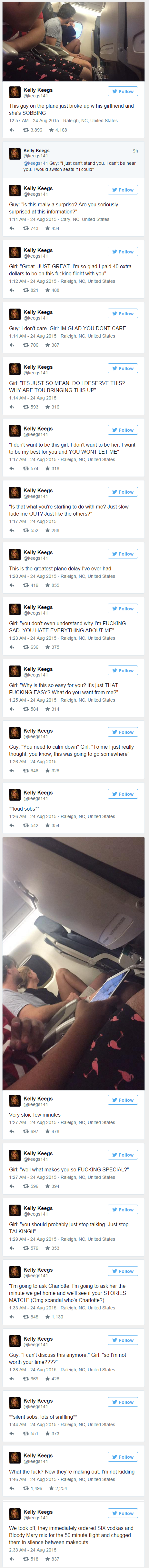 Woman live tweets a guy breaking up with his girlfriend on a