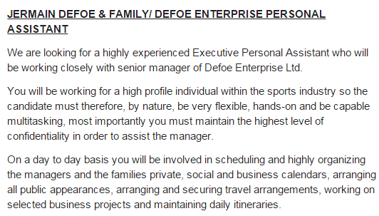 Jermain Defoes job ad for 60000 personal assistant is so – Personal Assistant Job Description