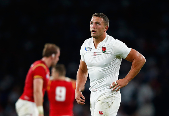 LONDON, ENGLAND - SEPTEMBER 26: Sam Burgess of England looks thoughtful during the 2015 Rugby World Cup Pool A match between England and Wales at Twickenham Stadium on September 26, 2015 in London, United Kingdom. (Photo by Shaun Botterill/Getty Images)