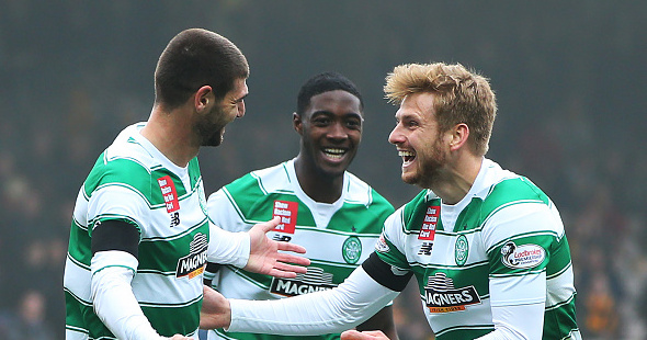 MOTHEREWELL, SCOTLAND - OCTOBER 17: Nadir Çiftçi of Celtic celebrates scoring with Stuart Armstrong of Celtic during the Ladbrokes Scottish Premiership match between Motherwell and Celtic at Fir Park on October 17, 2015 in Motherwell, Scotland. (Photo by Ian MacNicol/Getty images) *** Local Caption *** Nadir Çiftçi; Stuart Armstrong
