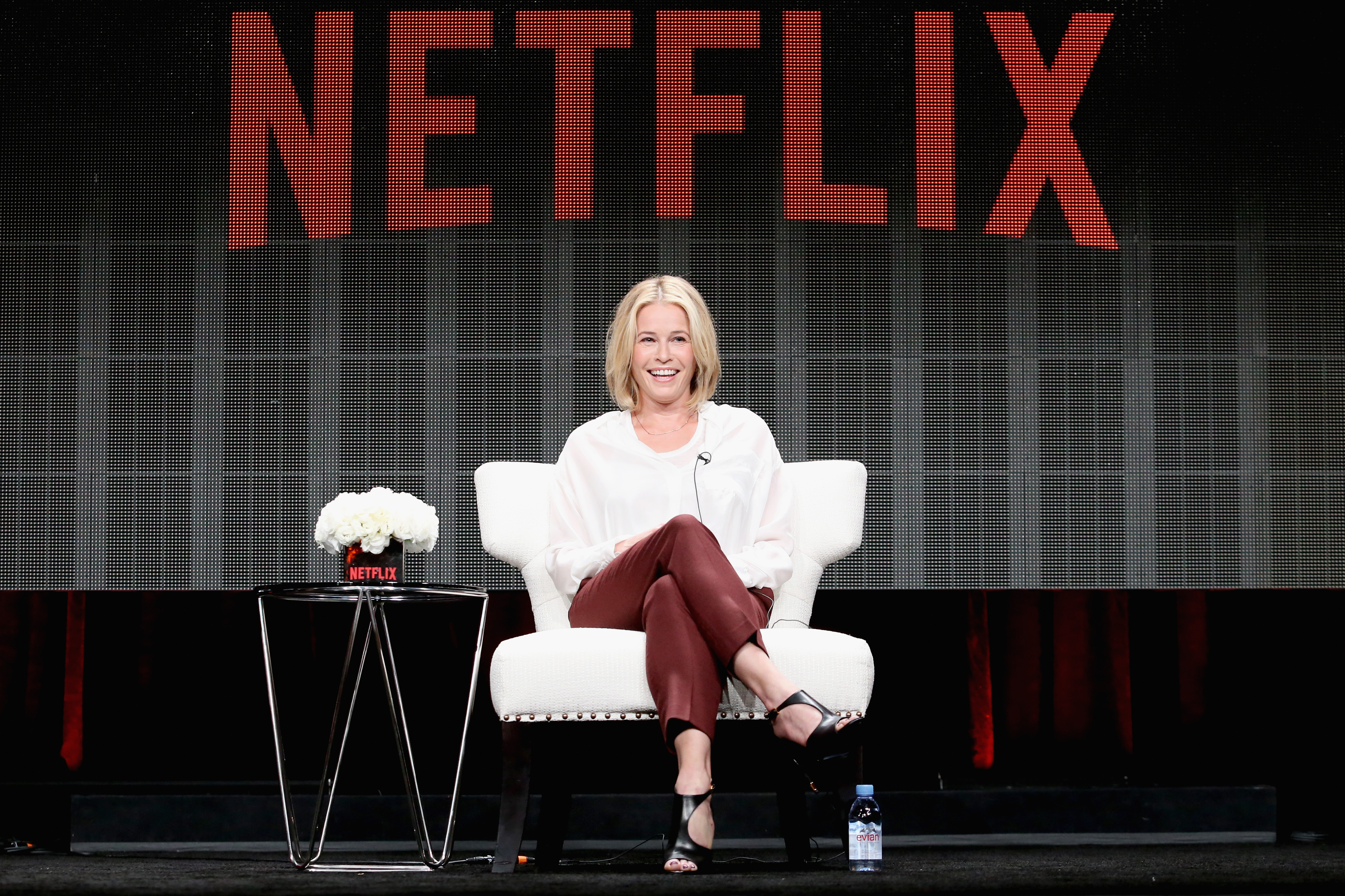 """Comedian Chelsea Handler speaks onstage during the """"Chelsea Does"""" panel discussion at the Netflix portion of the 2015  Summer TCA Tour at The Beverly Hilton Hotel on July 28, 2015 in Beverly Hills, California."""