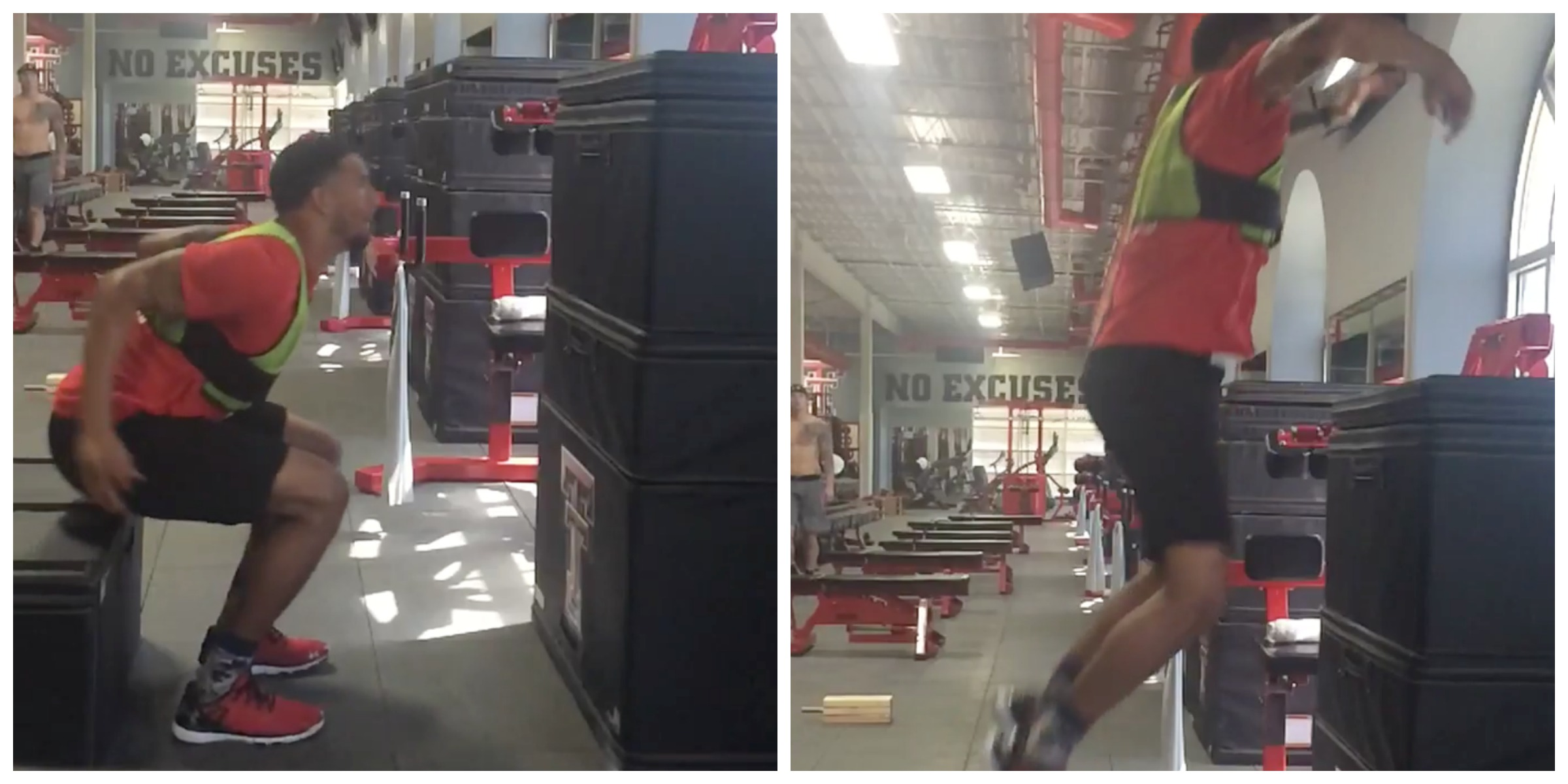 This US college football beast just nailed a 5ft seated box jump