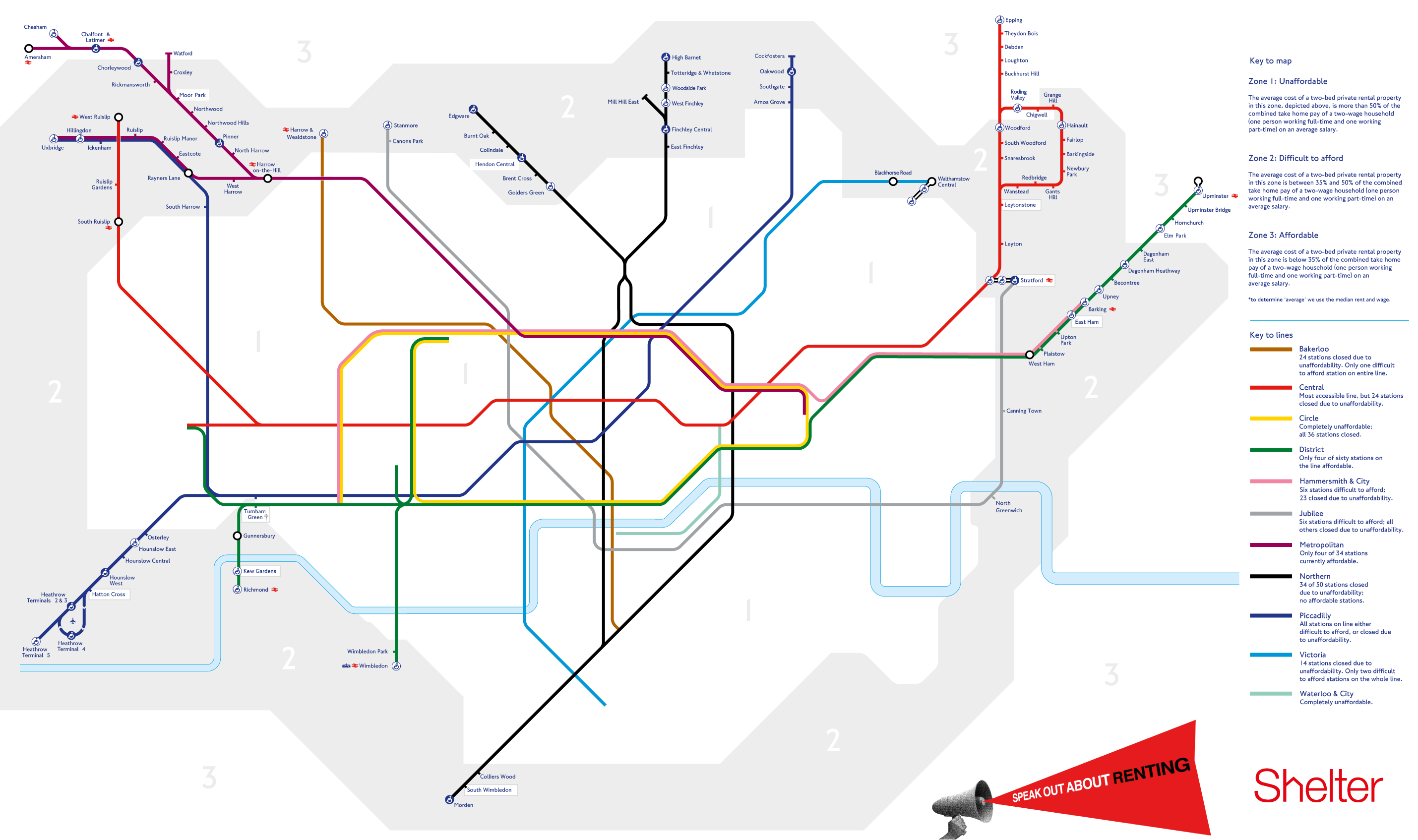 this tube map of affordability has removed the tube stops now deemed to be unaffordable to the average renter based on median rent and salary