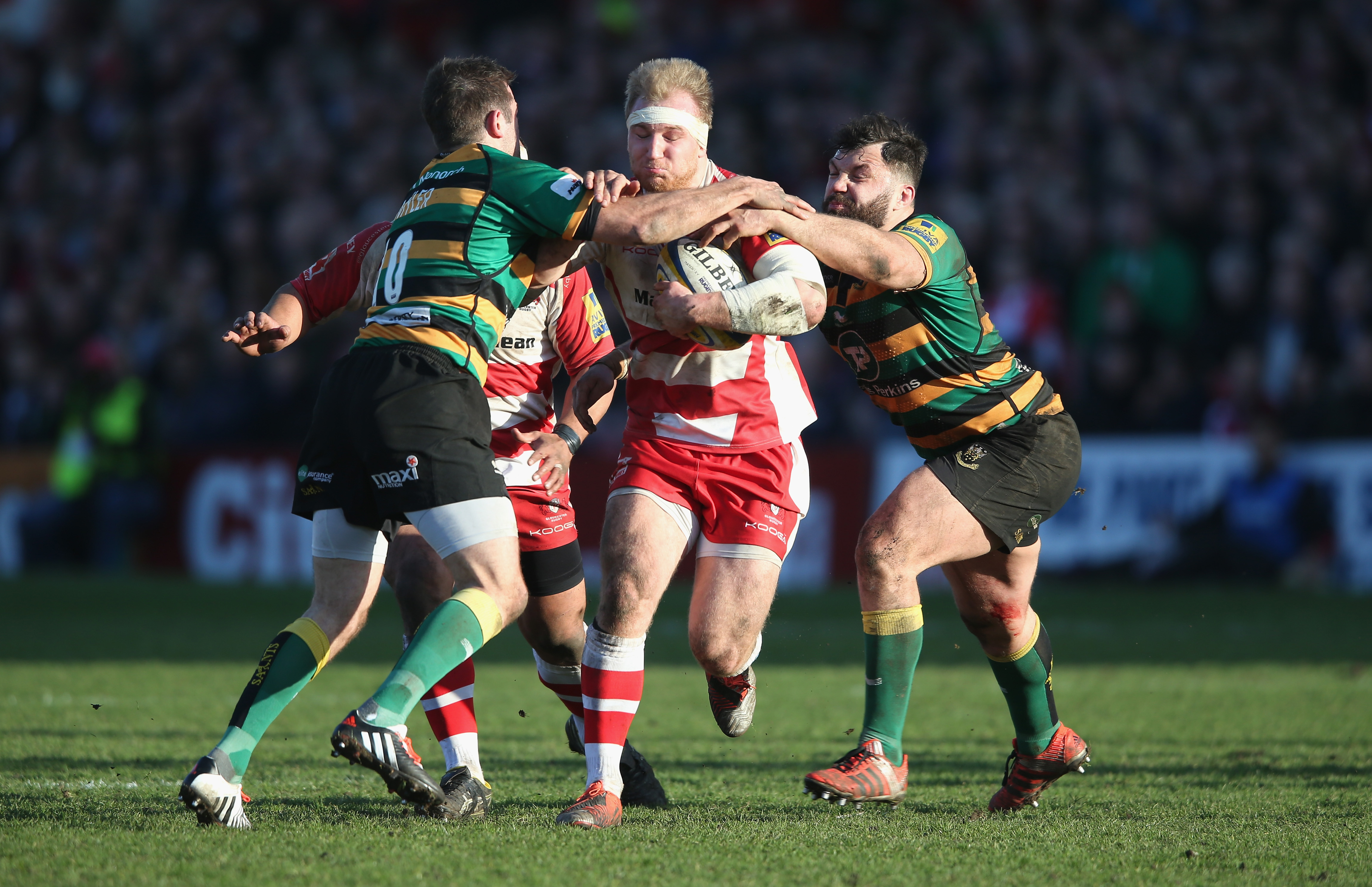 during the Aviva Premiership match between Gloucester and Northampton Saints at Kingsholm Stadium on March 7, 2015 in Gloucester, England.