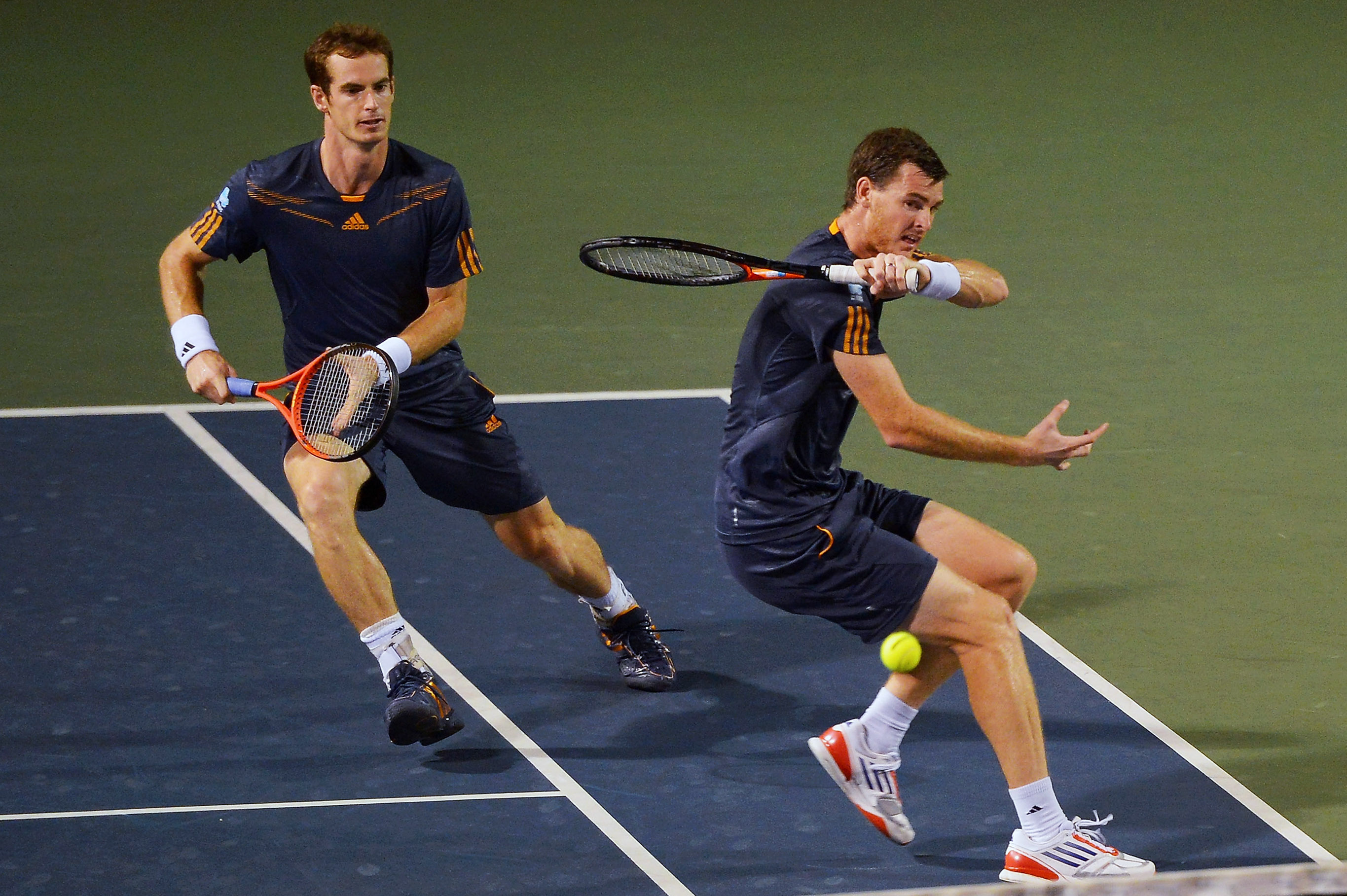 TOKYO, JAPAN - OCTOBER 05: (L-R) Andy Murray and Jamie Murray of Great Britain in action in their quater final match against Radek Stepanek of the Czech Republic and Leander Paes of India during day five of the Rakuten Open at Ariake Colosseum on October 5, 2012 in Tokyo, Japan. (Photo by Koki Nagahama/Getty Images)