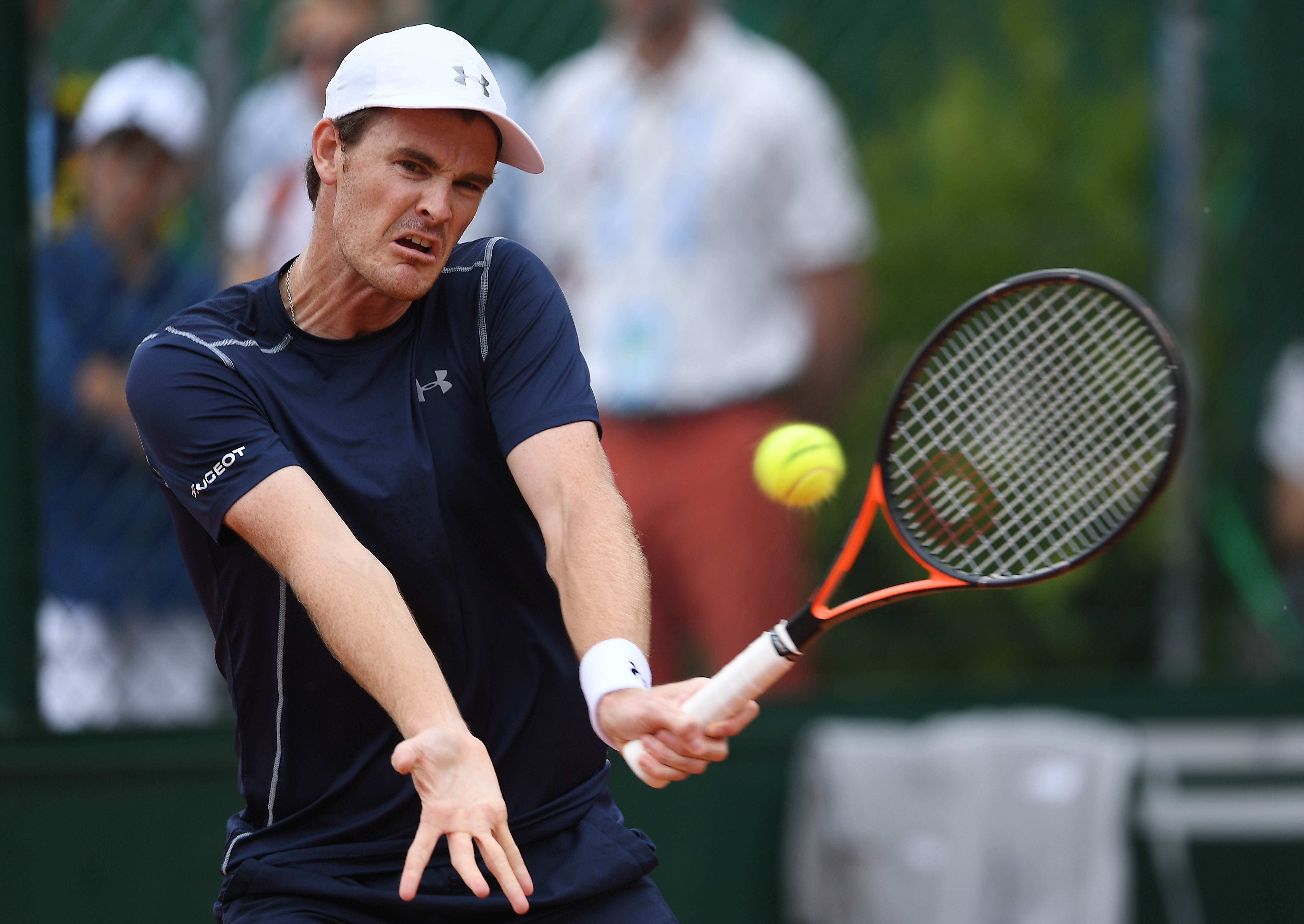 PARIS, FRANCE - MAY 28: Jamie Murray of Great Britain hits a forehand during the Men's Doubles second round match against David Guez of France and Vincent Millot of France on day seven of the 2016 French Open at Roland Garros on May 28, 2016 in Paris, France. (Photo by Dennis Grombkowski/Getty Images)