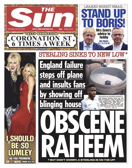 Sun Front Page - Raheem Sterling