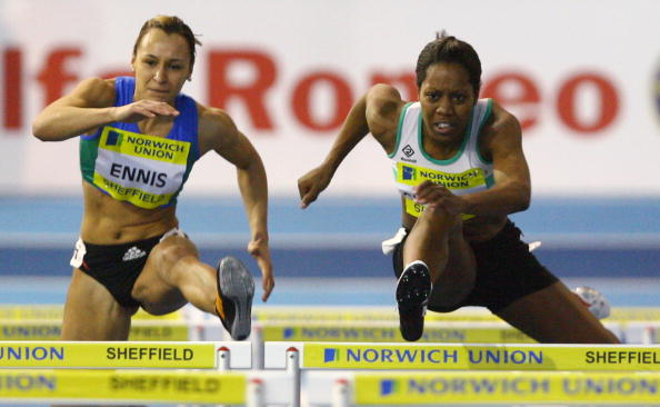 SHEFFIELD, UNITED KINGDOM - FEBRUARY 10: Jessica Ennis and Sarah Claxton in action in the Women's 60 metres hurdles during the Norwich Union World Trials & UK championships at The English Institute of Sport on February 10, 2008 in Sheffield, England. (Photo by Ian Walton/Getty Images)