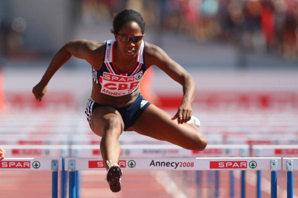 ANNECY, FRANCE - JUNE 22: Sarah Claxton of Great Britain in the women's 100m hurdles during day two of the Spar European Cup at the Parc Des Sports on June 22, 2008 in Annecy, France. (Photo by Michael Steele/Getty Images)