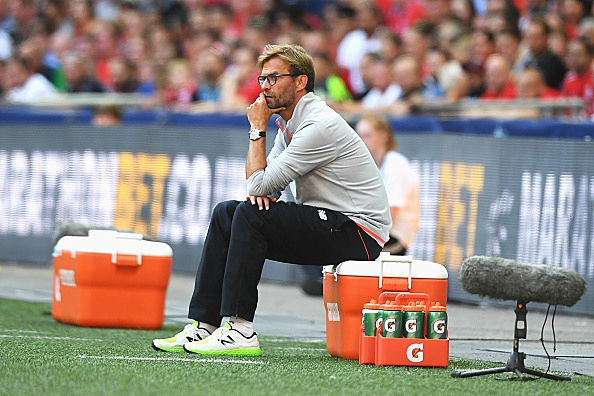 LONDON, ENGLAND - AUGUST 06: Jurgen Klopp, Manager of Liverpool looks on during the International Champions Cup match between Liverpool and Barcelona at Wembley Stadium on August 6, 2016 in London, England. (Photo by Michael Regan/Getty Images)