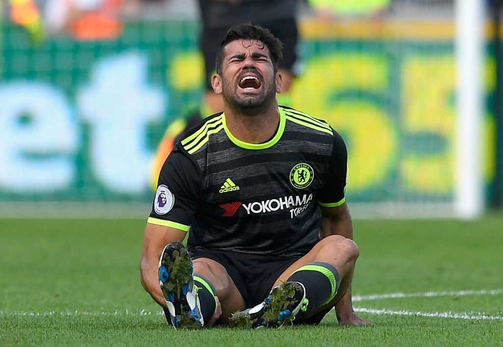 SWANSEA, WALES - SEPTEMBER 11: Diego Costa of Chelsea reacts during the Premier League match between Swansea City and Chelsea at Liberty Stadium on September 11, 2016 in Swansea, Wales. (Photo by Stu Forster/Getty Images)
