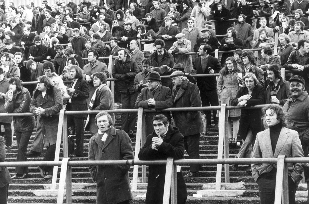 2nd February 1974: Arsenal fans on the terraces at Highbury for a game against Burnley. (Photo by Arthur Jones/Evening Standard/Getty Images)