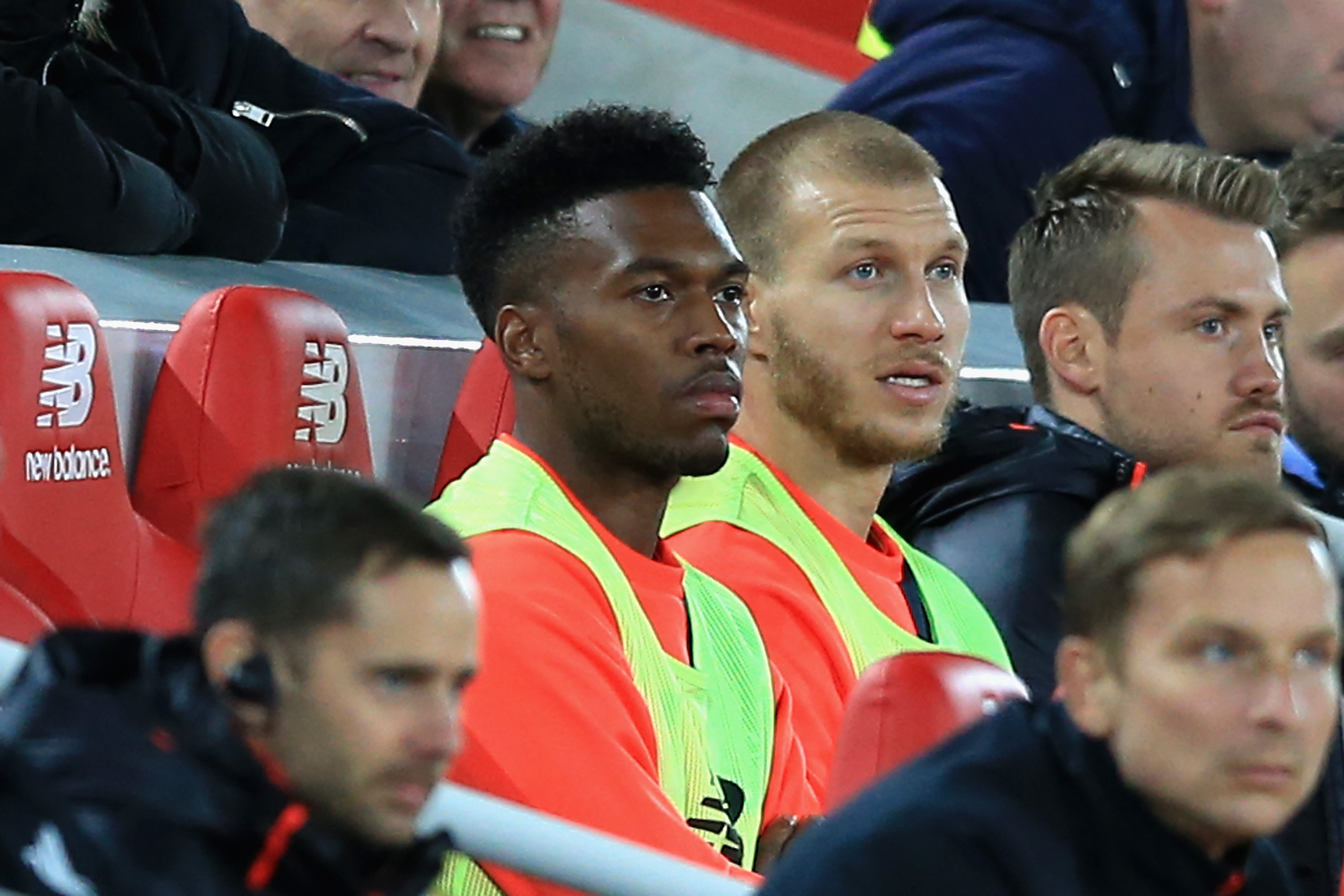 LIVERPOOL, ENGLAND - OCTOBER 22:  Substitute Daniel Sturridge of Liverpool looks on from the bench during the Premier League match between Liverpool and West Bromwich Albion at Anfield on October 22, 2016 in Liverpool, England.  (Photo by Jan Kruger/Getty Images)