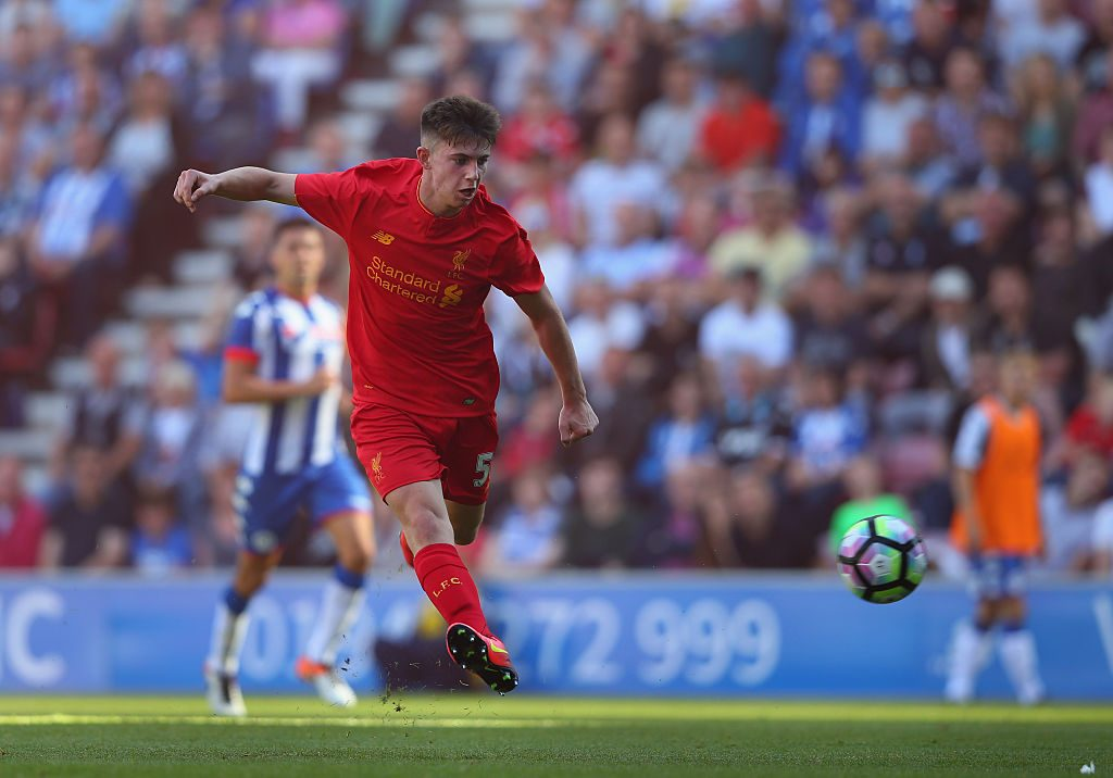 WIGAN, ENGLAND - JULY 17: Ben Woodburn of Liverpool scores the second goal during a pre-season friendly between Wigan Athletic and Liverpool at JJB Stadium on July 17, 2016 in Wigan, England. (Photo by Alex Livesey/Getty Images)