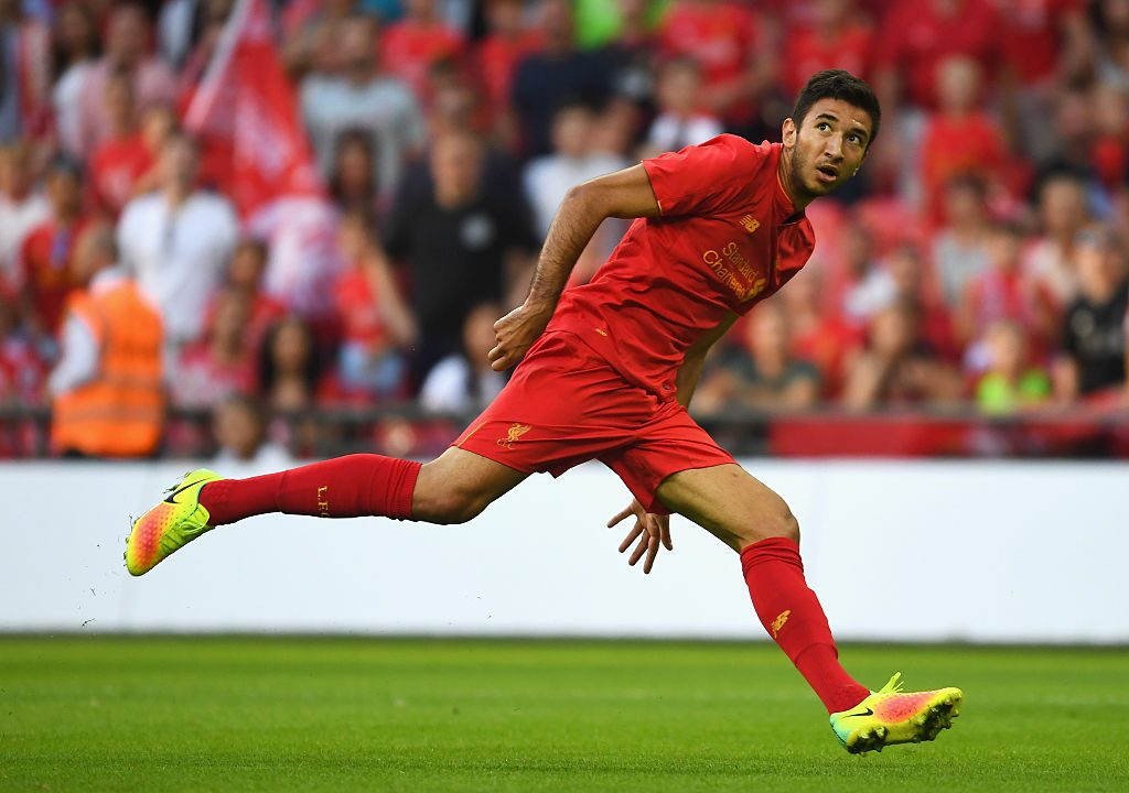 LONDON, ENGLAND - AUGUST 06: Marko Grujic of Liverpool watches his header hit the back of the net for his team's fourth goal during the International Champions Cup match between Liverpool and Barcelona at Wembley Stadium on August 6, 2016 in London, England. (Photo by Mike Hewitt/Getty Images)