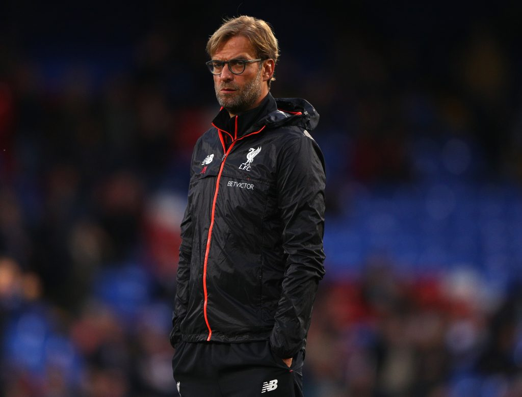 LONDON, ENGLAND - OCTOBER 29: Jurgen Klopp, Manager of Liverpool looks on prior to the Premier League match between Crystal Palace and Liverpool at Selhurst Park on October 29, 2016 in London, England. (Photo by Ian Walton/Getty Images)