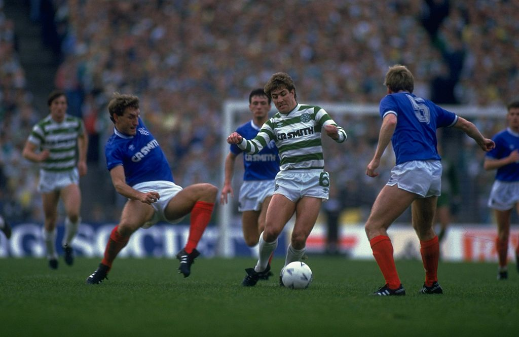 Terry Butcher of Rangers and Mark McGhee of Celtic