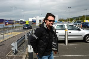 BELFAST, NORTHERN IRELAND - MAY 21: Touch down: Richard Hammond arrives in Belfast ahead of the Clarkson, Hammond and May live arena tour on May 21, 2015 in Belfast, Northern Ireland. (Photo by Carrie Davenport/Getty Images)