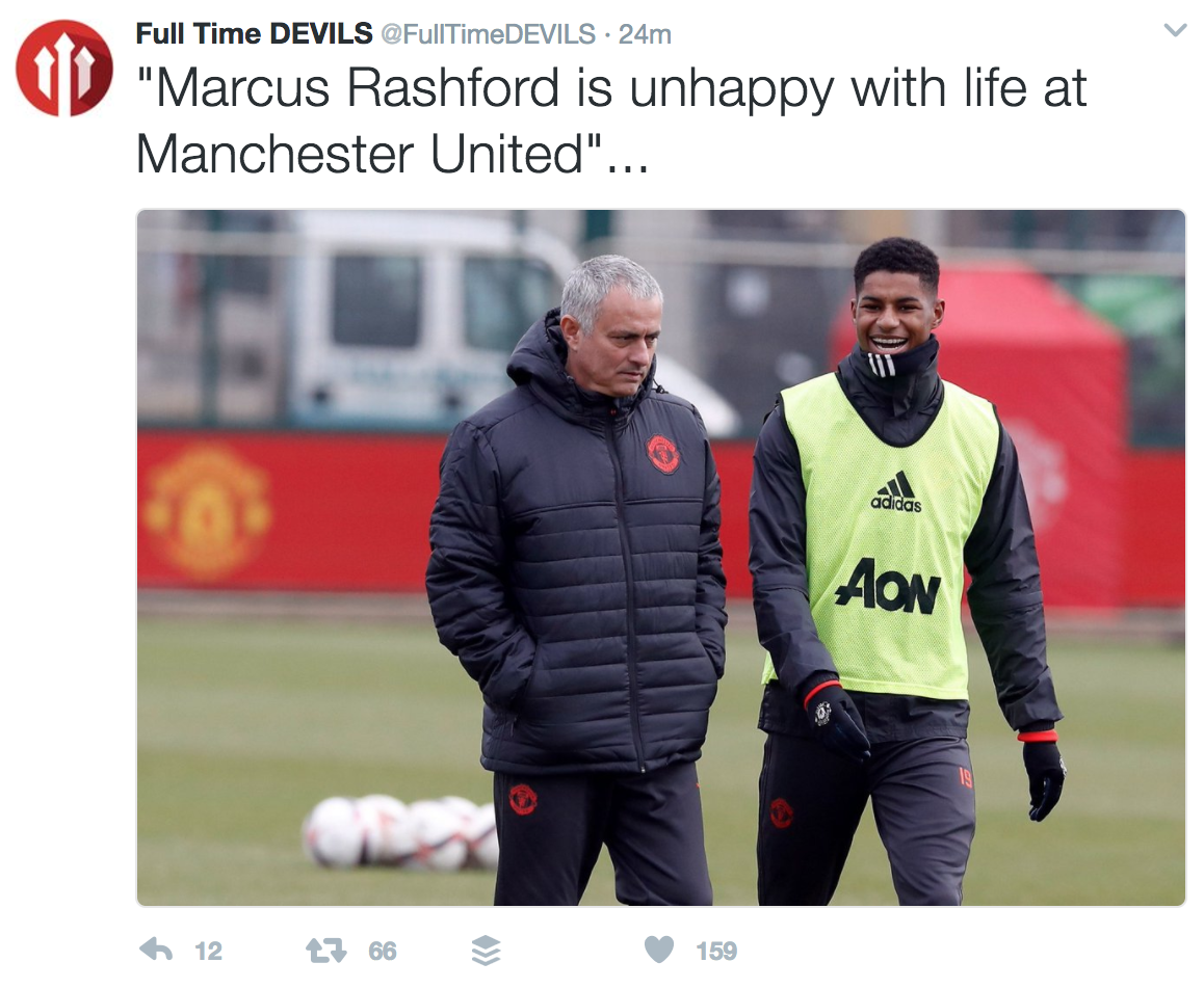 Desperately Unhappy Marcus Rashford S Strained Relationship With Jose Mourinho Made Clear By Heartbreaking Image Sportsjoe Ie