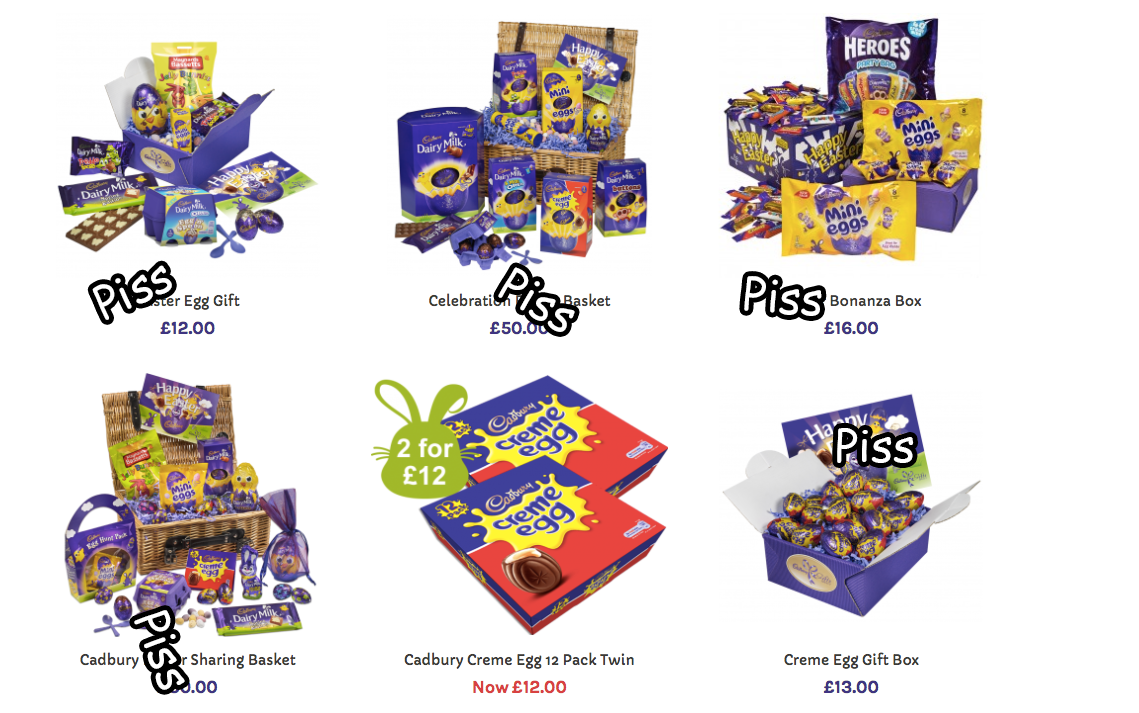 Hey cadbury how dare you remove easter from your egg hunt joe theyve stopped selling easter gift baskets and swapped them for piss gift baskets instead these are not the kind of family values we expect from cadbury negle Image collections