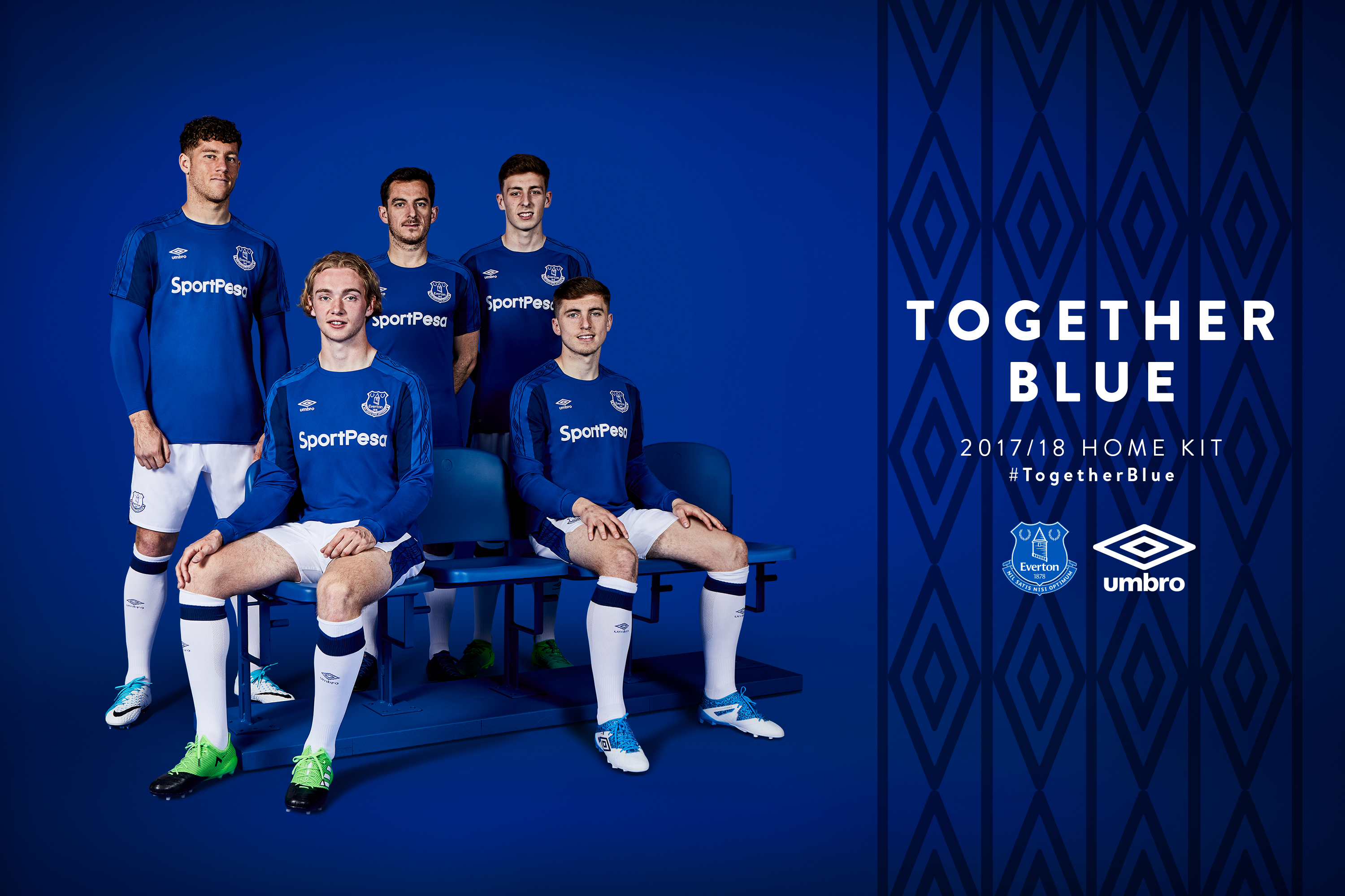 6be3388e1 The Blues  new home strip is available to pre-order now either online at  Everton Direct