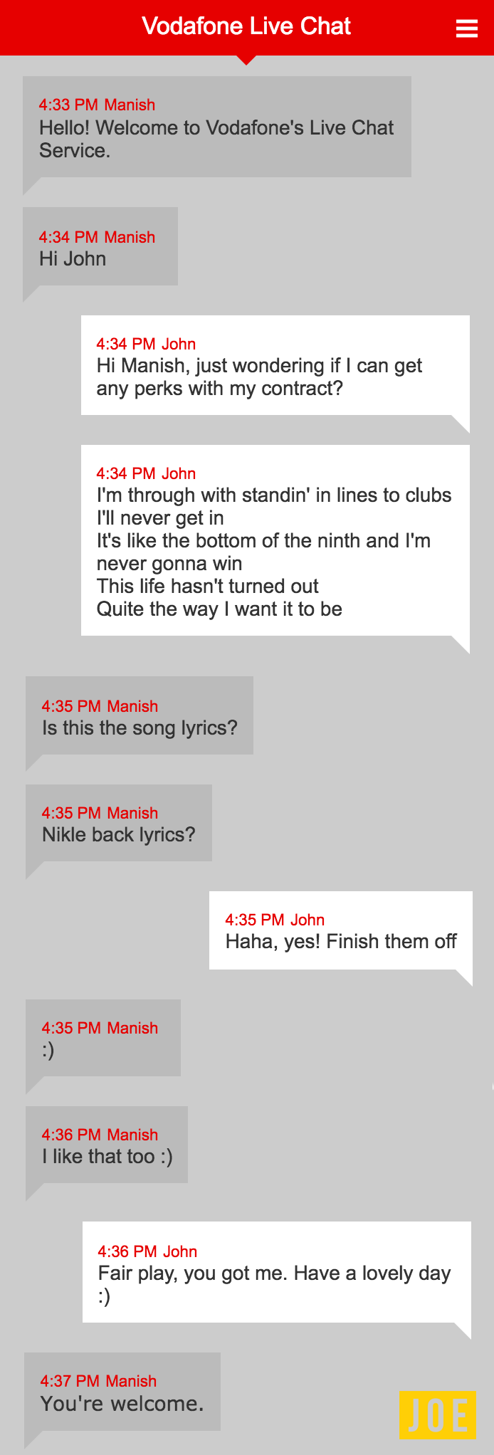 I quoted Nickelback lyrics during online support chats and