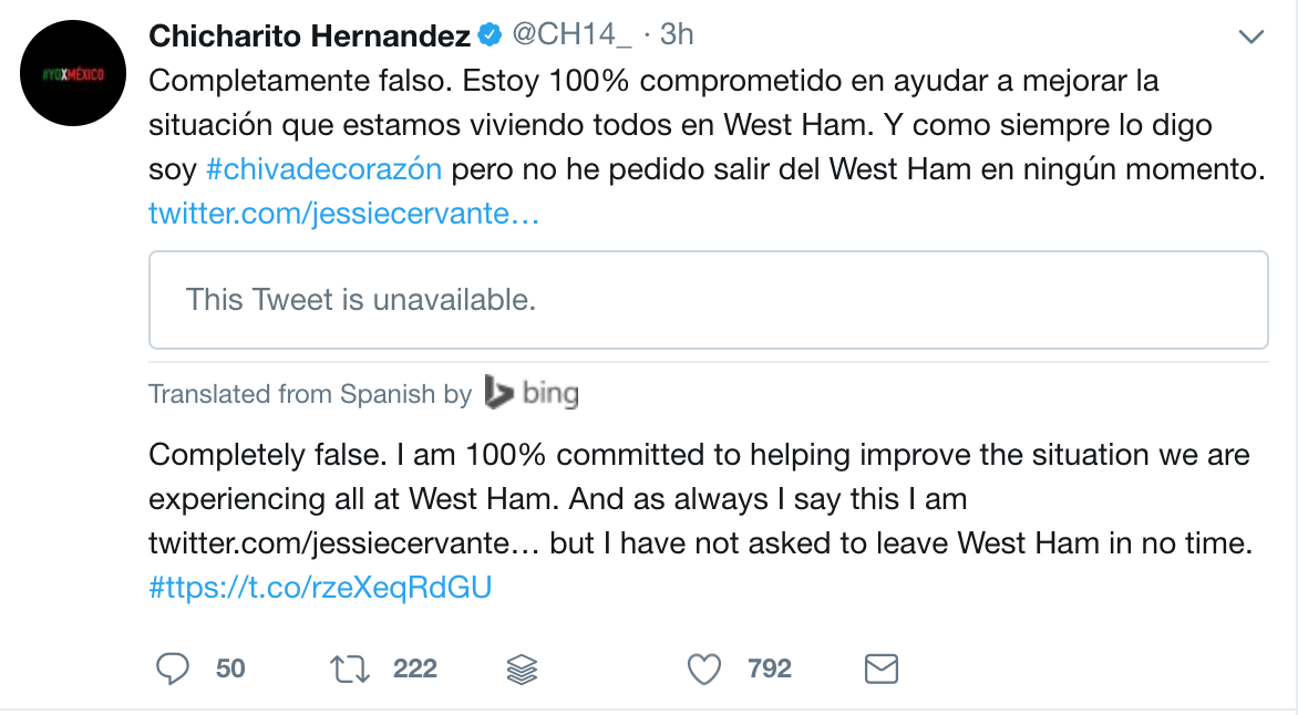 Javier Hernandez denies claims he wants to leave West Ham