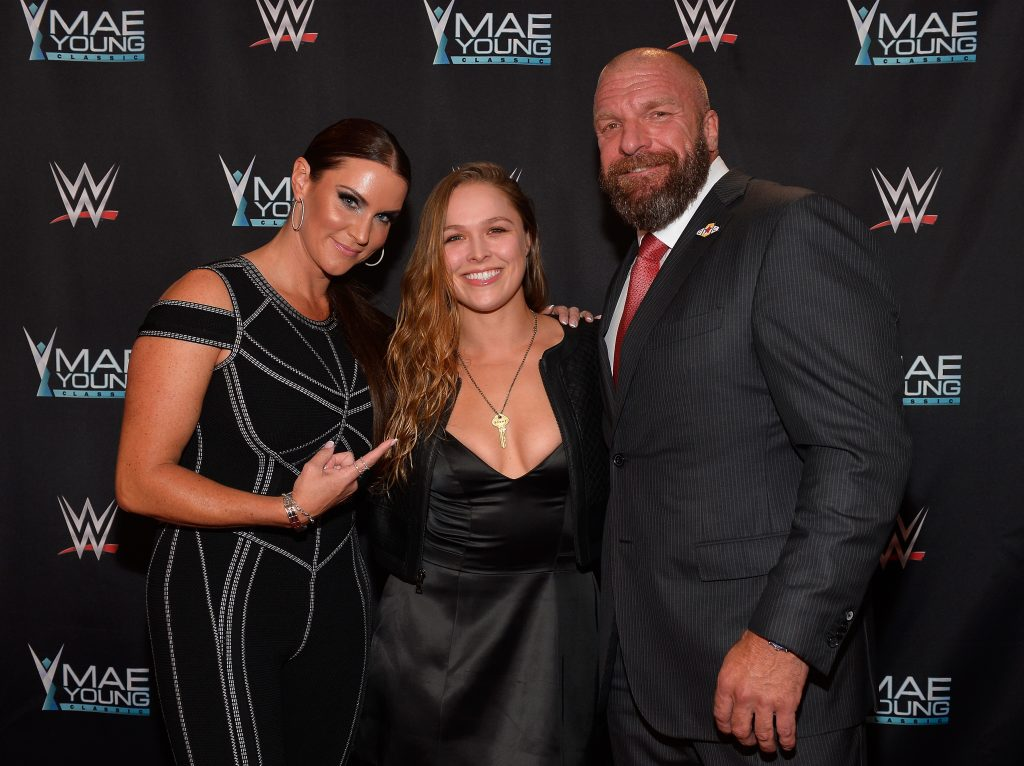 Ronda Rousey poses with fans after Royal Rumble appearance