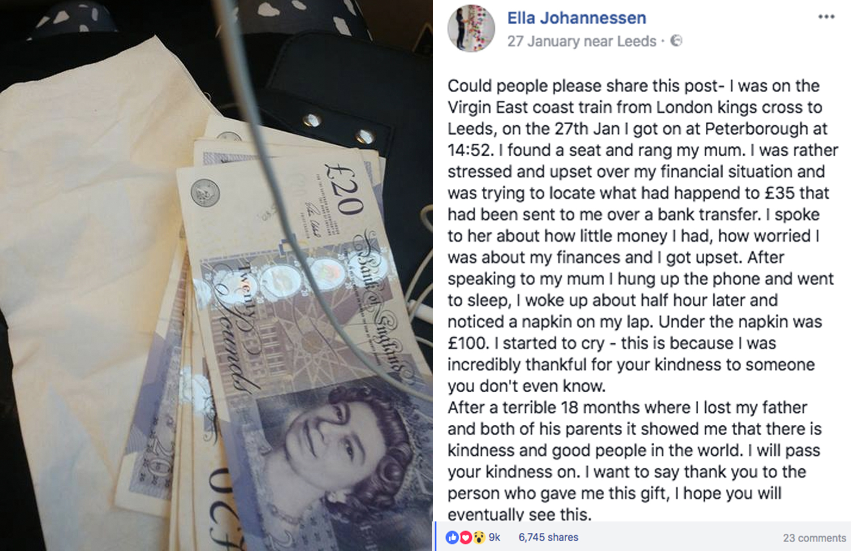 Hard-up train passenger wakes to find £100 gift from stranger