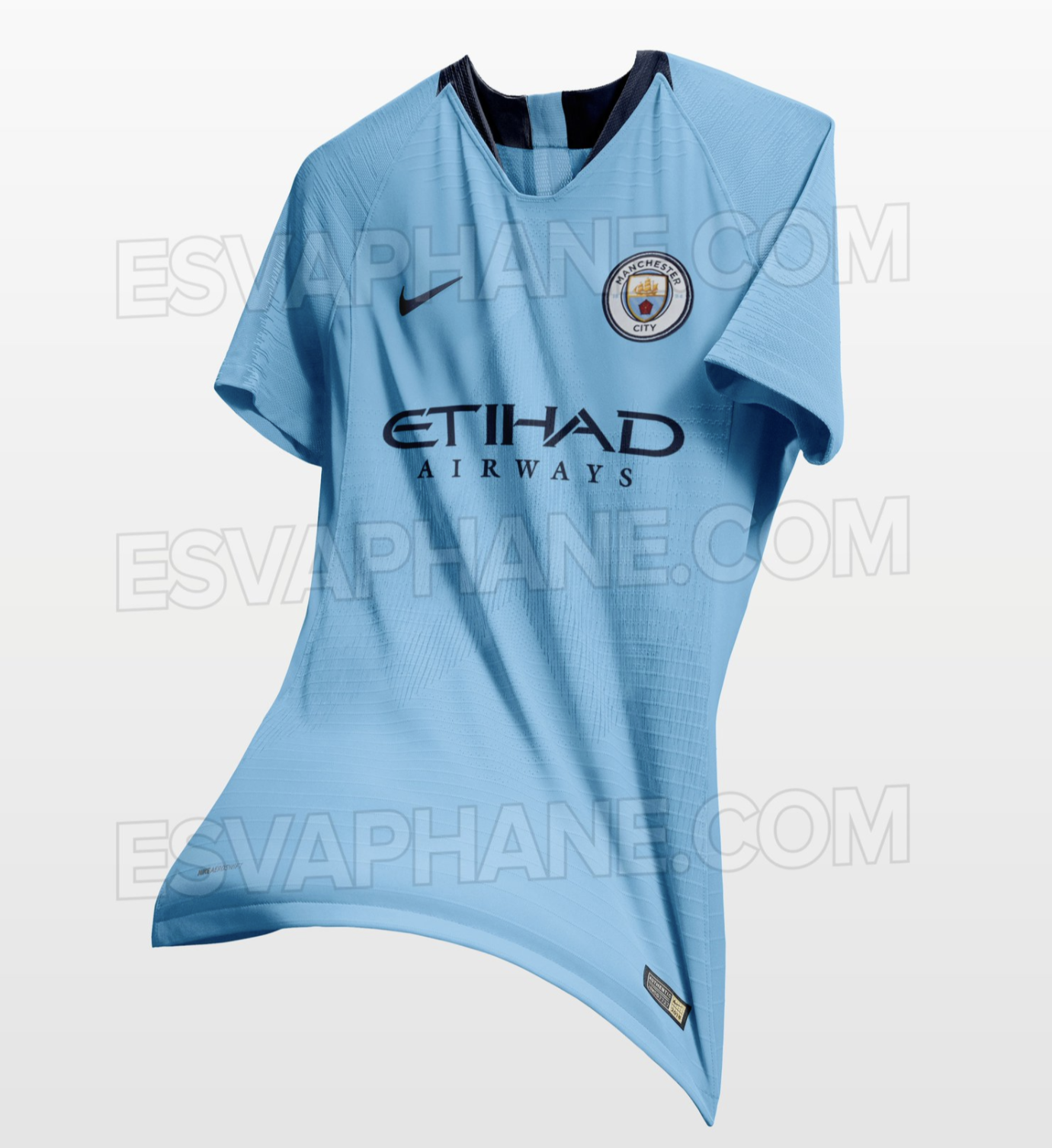 Images of manchester citys 201819 home shirt have been leaked the nike swoosh and main sponsor are also in navy with the shirt seemingly using the new vapor template maxwellsz
