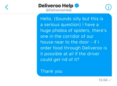 Student orders takeaway so the delivery driver can get rid of a