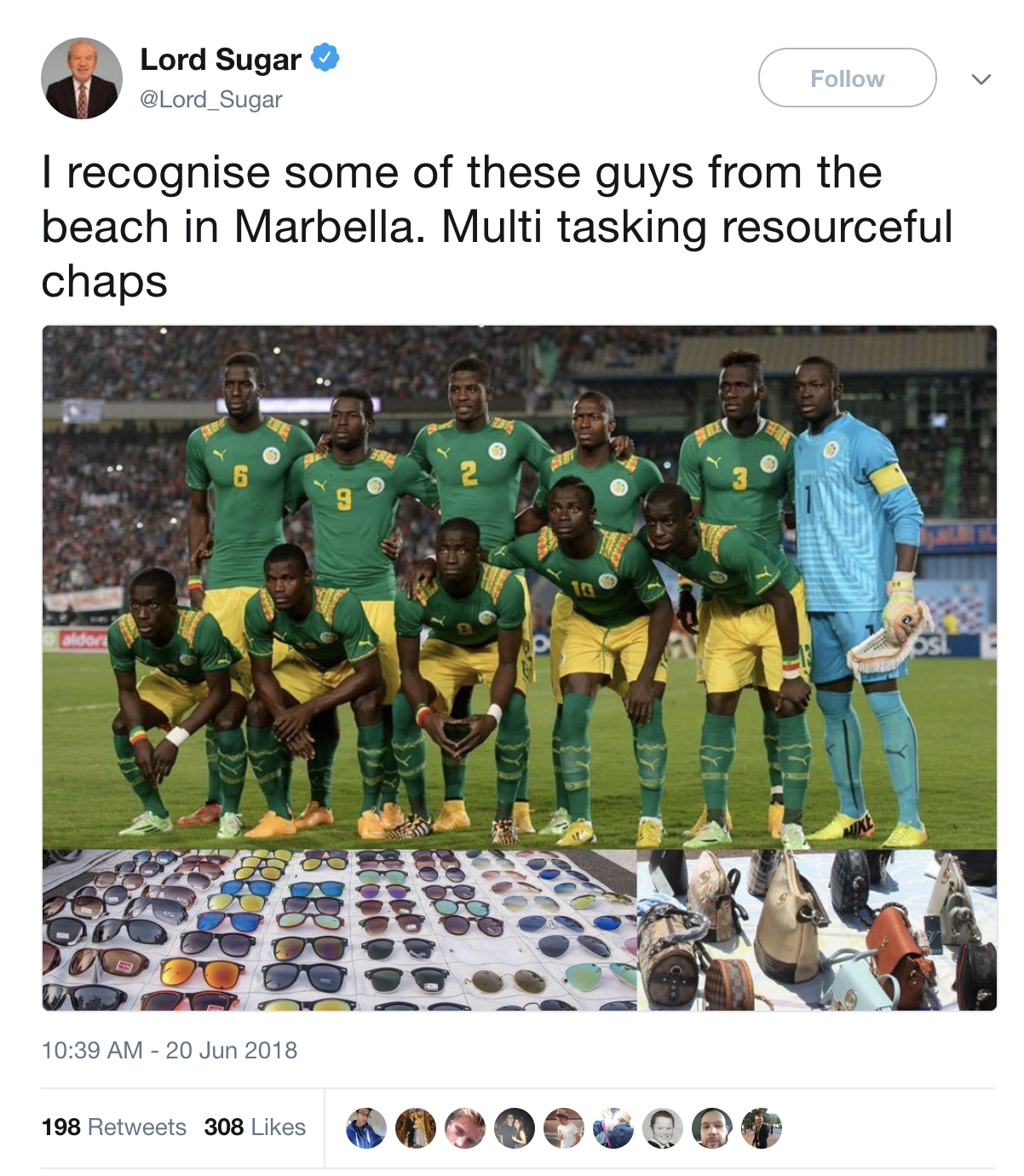 Alan Sugar defends racist tweet after Senegal World Cup win