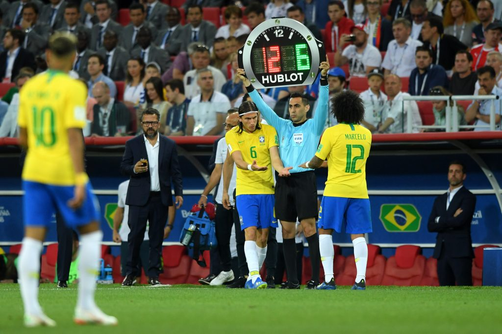 Brazil's Marcelo a doubt for Mexico match Douglas Costa ruled out