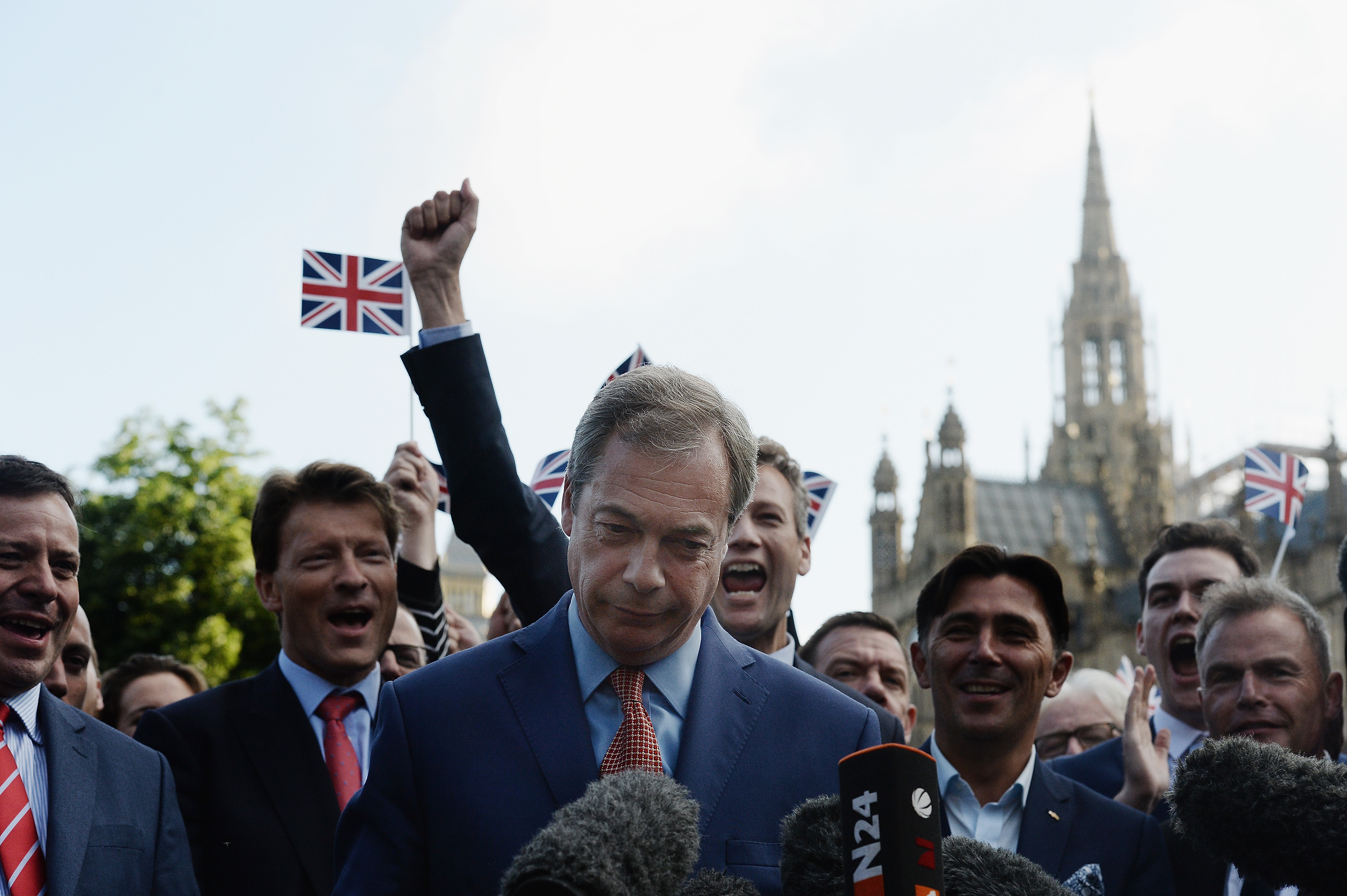 LONDON, ENGLAND - JUNE 24: Leader of UKIP and Vote Leave campaign Nigel Farage arrives to speak to the assembled media at College Green, Westminster following the results of the EU referendum on June 24, 2016 in London, United Kingdom. The result from the historic EU referendum has now been declared and the United Kingdom has voted to LEAVE the European Union. (Photo by Mary Turner/Getty Images)