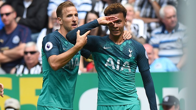 The Spurs player shows off the Dele Alli challenge as he celebrates against Newcastle