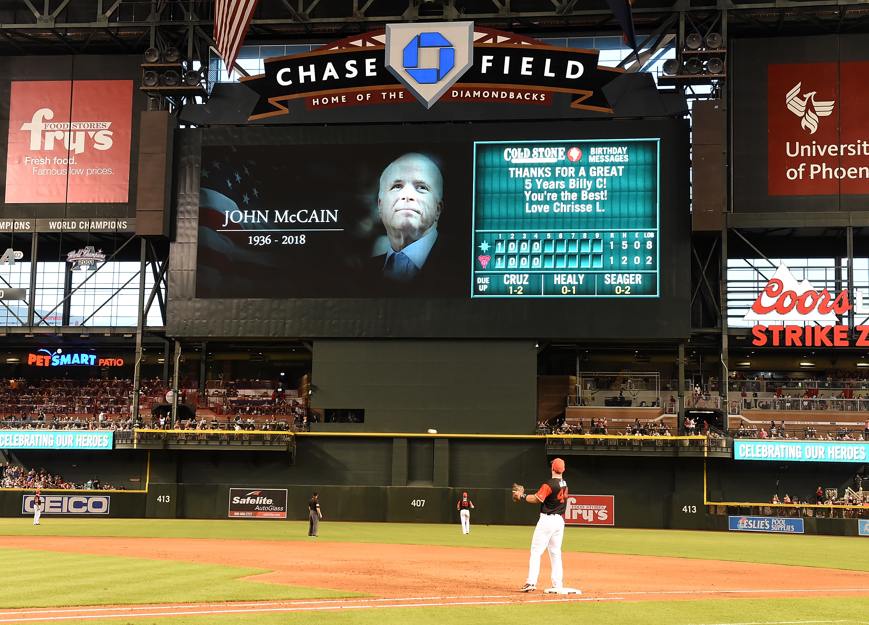 PHOENIX, AZ - AUGUST 25: The Arizona Diamondbacks paid tribute to the late US Senator John McCain during a game against the Seattle Mariners at Chase Field on August 25, 2018 in Phoenix, Arizona. All players across MLB will wear nicknames on their backs as well as colorful, non-traditional uniforms featuring alternate designs inspired by youth-league uniforms during Players Weekend. (Photo by Norm Hall/Getty Images)