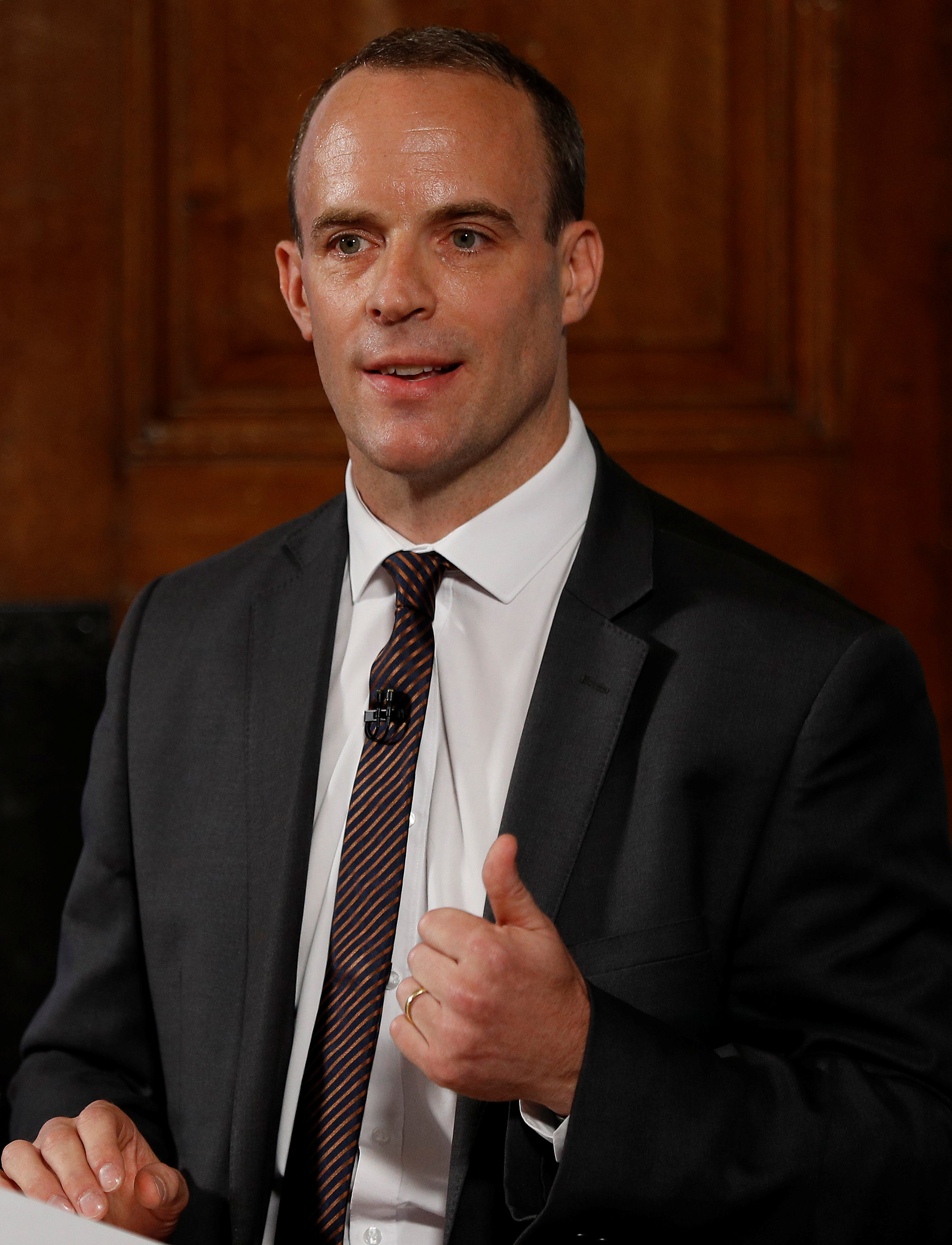 LONDON, UNITED KINGDOM - AUGUST 23:  Brexit Secretary, Dominic Raab makes a speech outlining the government's plans for a no-deal Brexit, August 23, 2018 in London, England. (Photo by Peter Nicholls - WPA Pool/Getty Images)