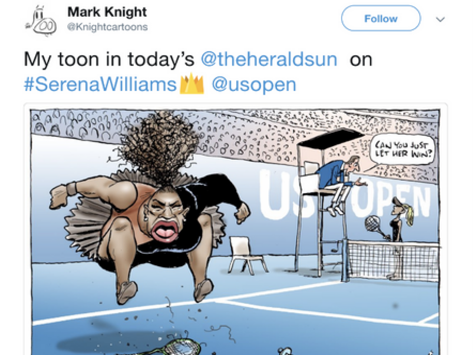 Paper defends Serena Williams cartoon by republishing it on the