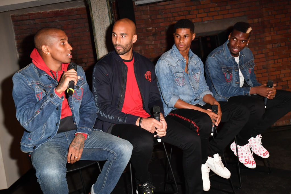 Ashley Young Lee Grant Marcus Rashford and Paul Pogba at a sponsor that players did attend on Thursday