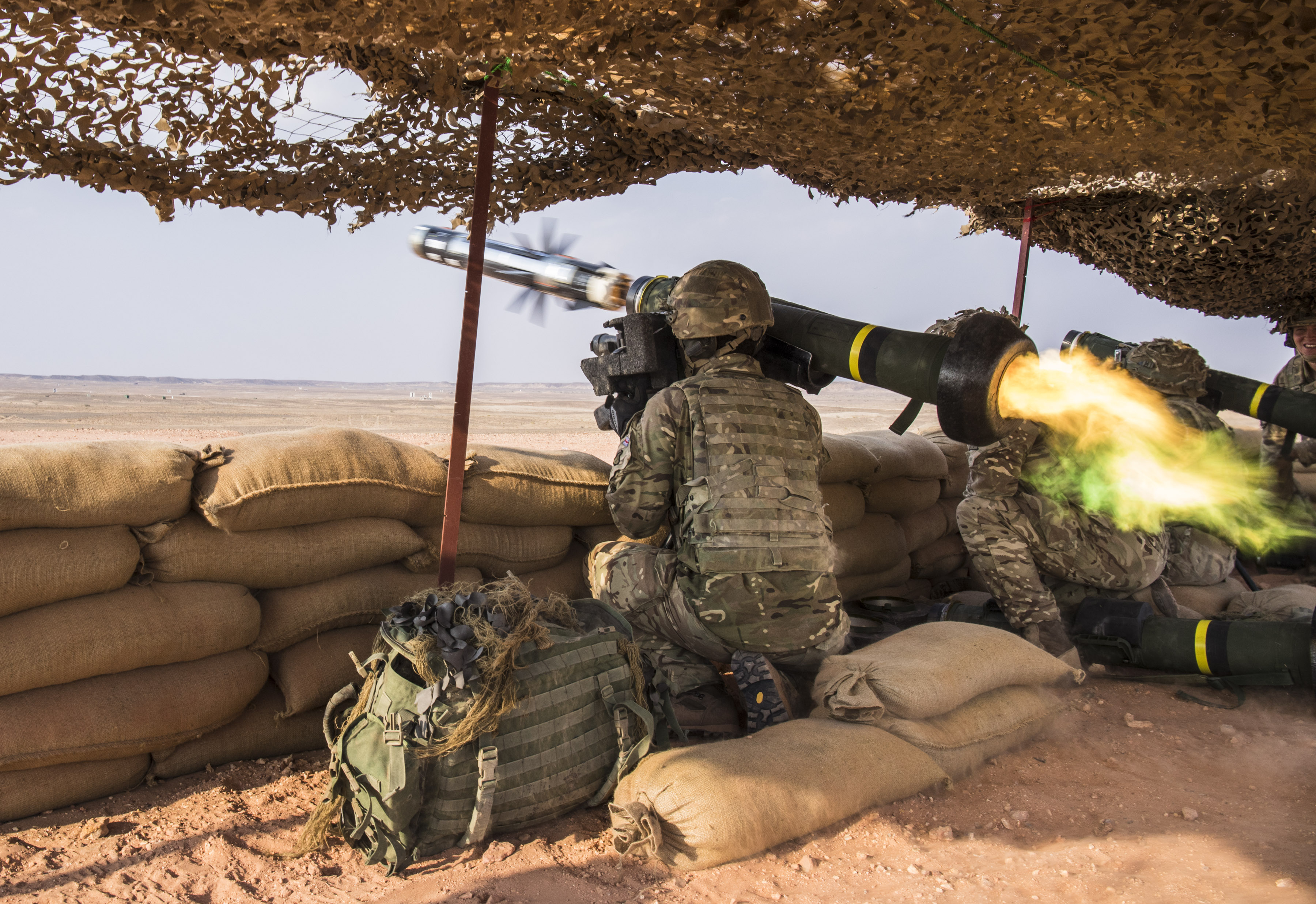 Pictured: A Javelin missile is fired by 1 Mercian at the Fire Power Demonstation Area near the Convoy Support Centre during Exercise Saif Sareea 3 in Oman. A total of 4 Javelin missiles were fired today for training purposes at the Fire Power Demonstation Area by The British Army 1 Mercian Unit.