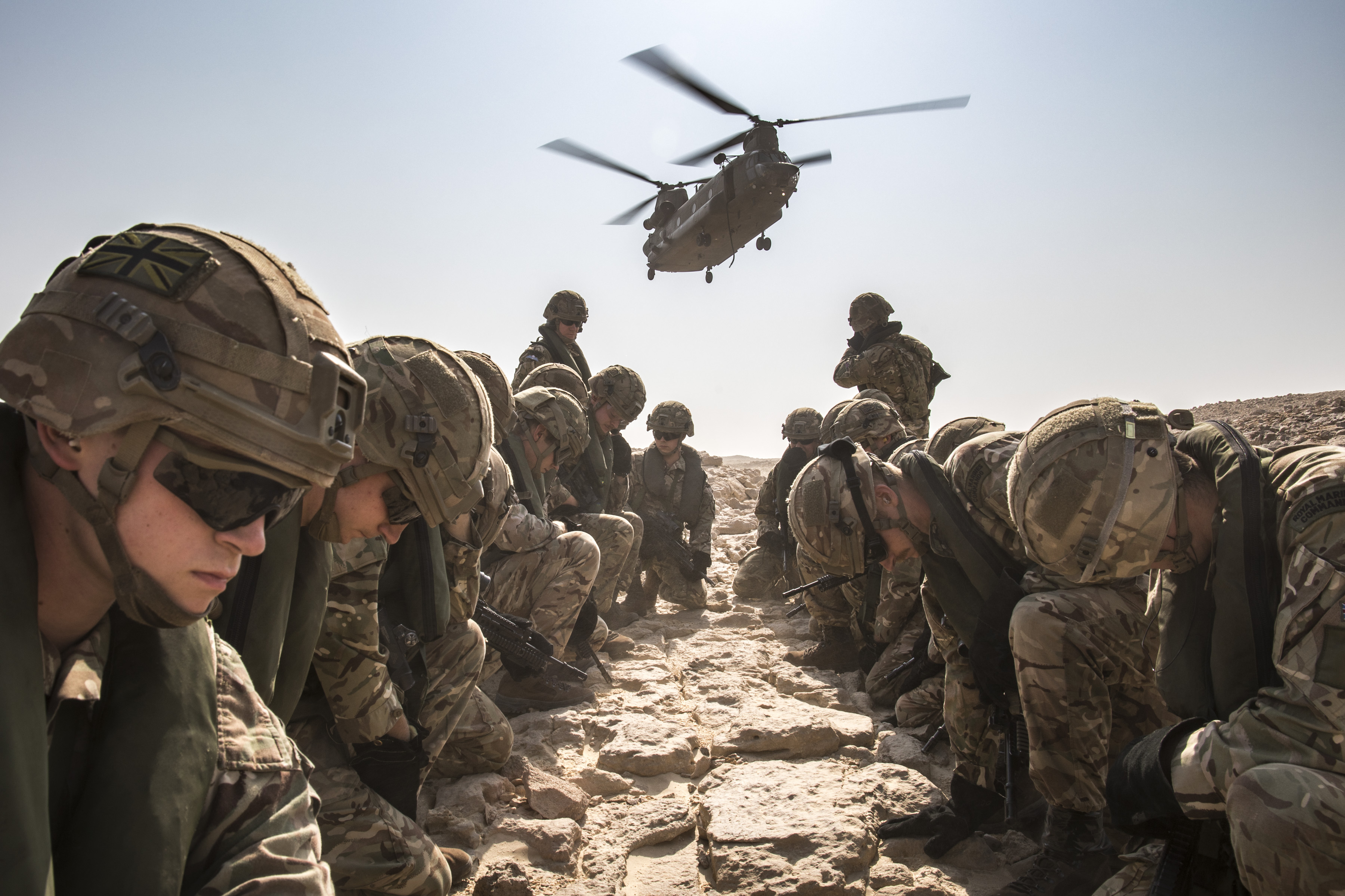 Chinooks from 27 Squadron RAF Odiham have fast roped Royal Marines from 40 Commando into a beach assault during the final fire power demonstration on Exercise Saif Sareea 3 in Oman. Royal Air Force Chinook helicopters of No. 27 Squadron, from Royal Air Force Odiham, have been participating on Exercise Saif Sareea 3 in Oman. Aircrew, Engineers and support staff from the Squadron have been working from both Royal Air Force of Oman (RAFO) Musannah in the north of the country, and Duqm International Airport in the south of the country, in a bilateral training exercise that see's over 5,000 UK personnel train alongside over 60,000 troops from The Sultan of Oman's Armed Forces. During the exercise the aircraft have been training in a variety of roles, moving 40 Commando Royal Marines and Omani troops, as well as deck landings on the Royal Navy's HMS Albion in the Indian Ocean. 27 Squadron have utilised the exercise to carry out vital environmental training for pilots and aircrew, and the support staff accompanying the aircraft. Exercise Saif Sareea 3 see's personnel from The Royal Navy, British Army and Royal Air Force train alongside The Sultan of Oman's Armed Forces in a bilateral training exercise that tests and develops joint operations between the two nations.