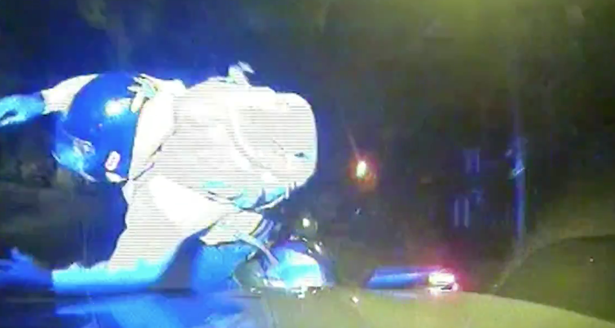 Police ram a moped rider off his bike (Credit: Met Police)