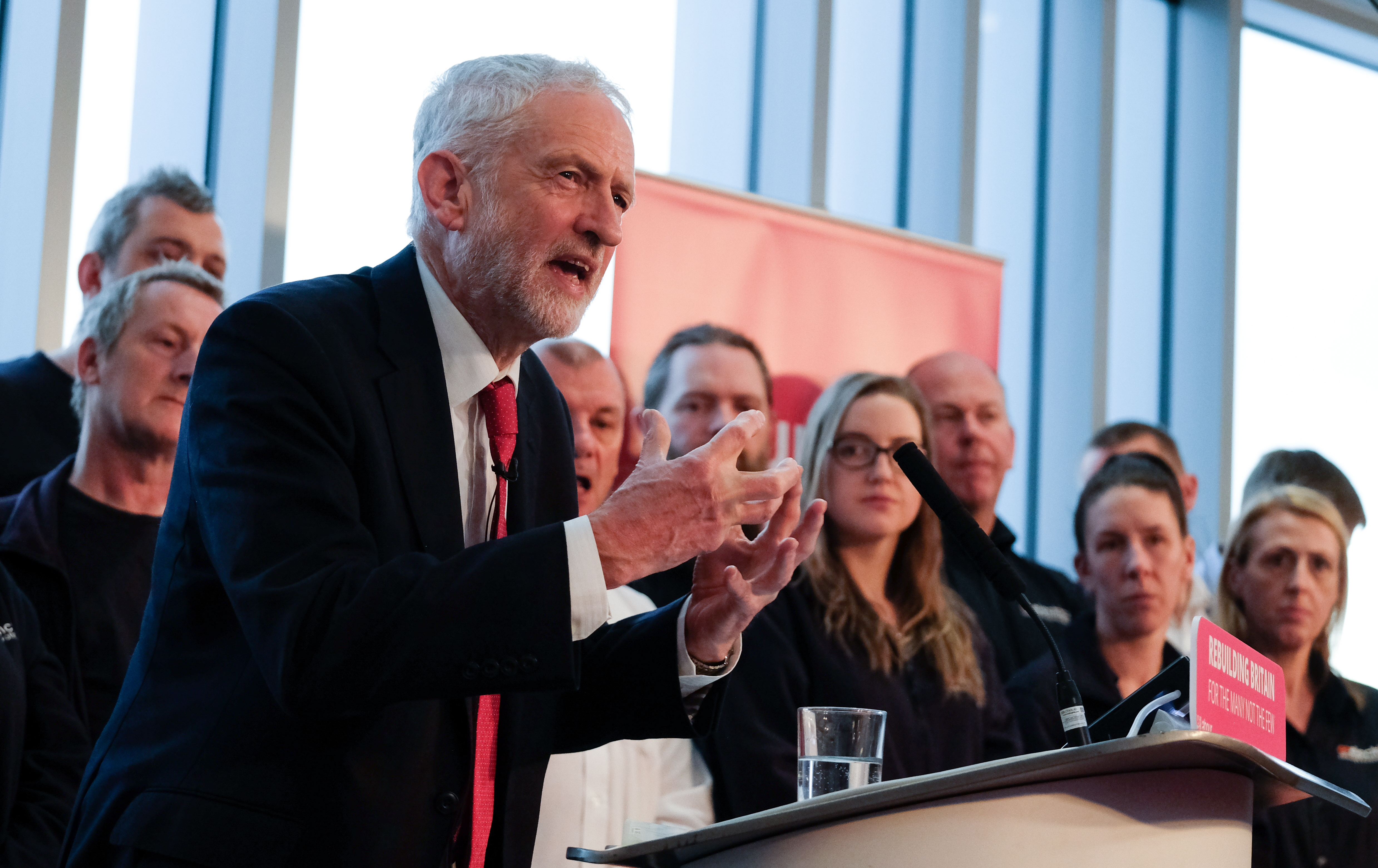 WAKEFIELD, ENGLAND - JANUARY 10: Labour leader Jeremy Corbyn delivers a speech to members of the media where he outlined Labour's approach to Brexit at the OE Electrics manufacturing factory on January 10, 2019 in Wakefield, England. The speech and q&a session came ahead of the Meaningful Vote on Theresa May's Brexit deal that is scheduled to take place next Tuesday. (Photo by Ian Forsyth/Getty Images)