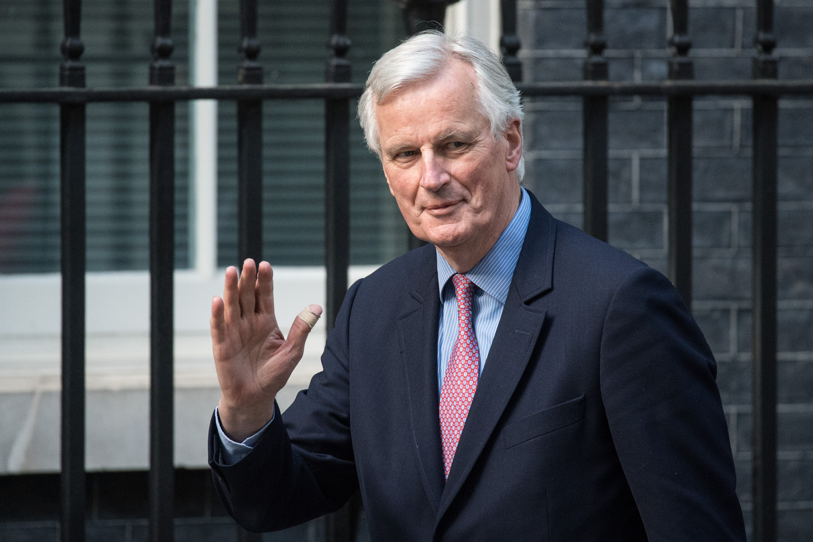 LONDON, ENGLAND - APRIL 26: European Union's chief Brexit negotiator, Michel Barnier, arrives with European Commission president, Jean-Claude Juncker, to meet Britain's Prime Minister, Theresa May on April 26, 2017 in Downing Street, London, England. Prime Minister May is to hold her first major talks with E.U leaders since calling a general election in a bid to strengthen her position in forthcoming Brexit negotiations. (Photo by Carl Court/Getty Images)