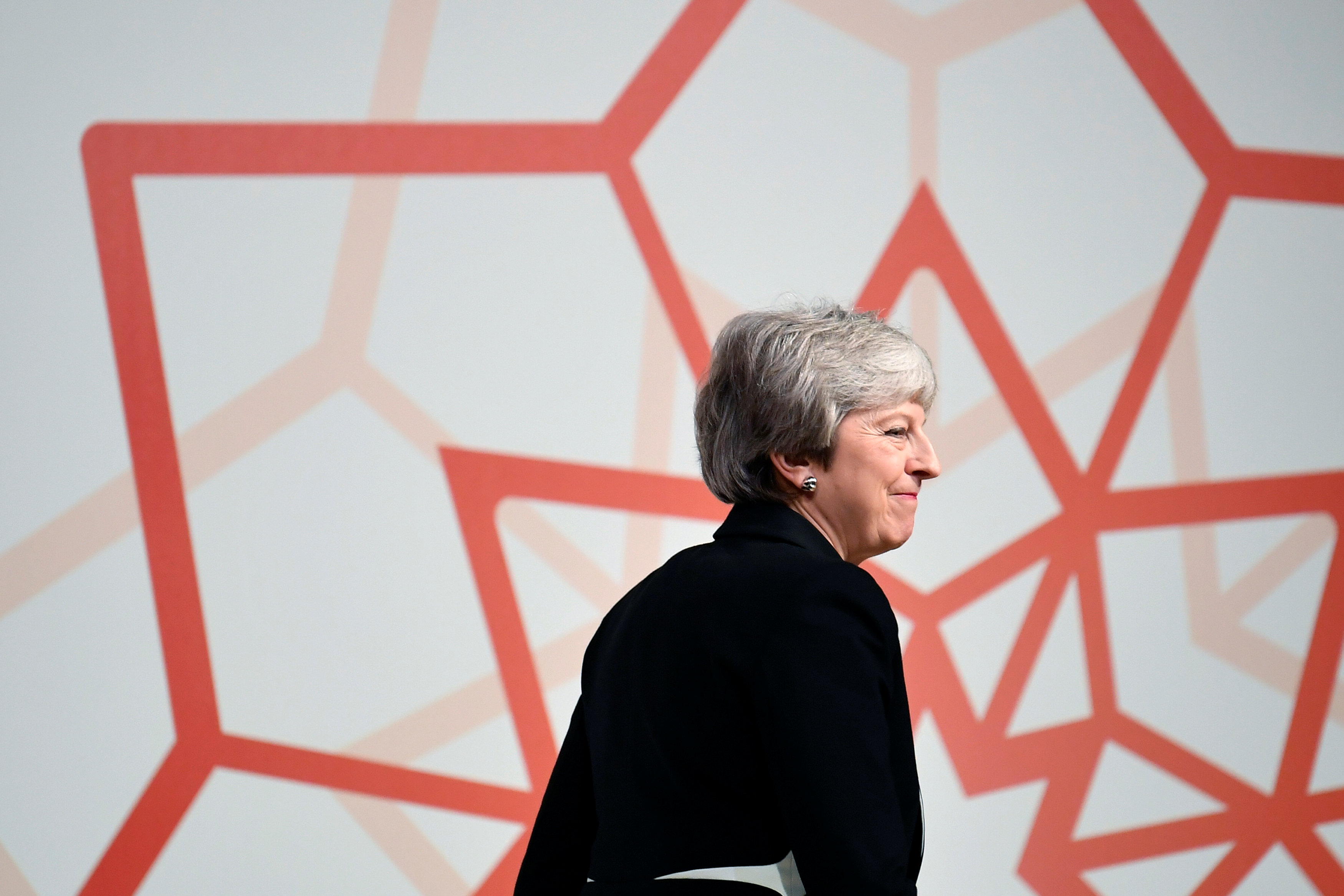 LONDON, ENGLAND - FEBRUARY 28: Britain's Prime Minister Theresa May speaks at the Jordan Growth and Opportunity Conference on February 28, 2019 in London, England. (Photo by Toby Melville WPA Pool/Getty Images)