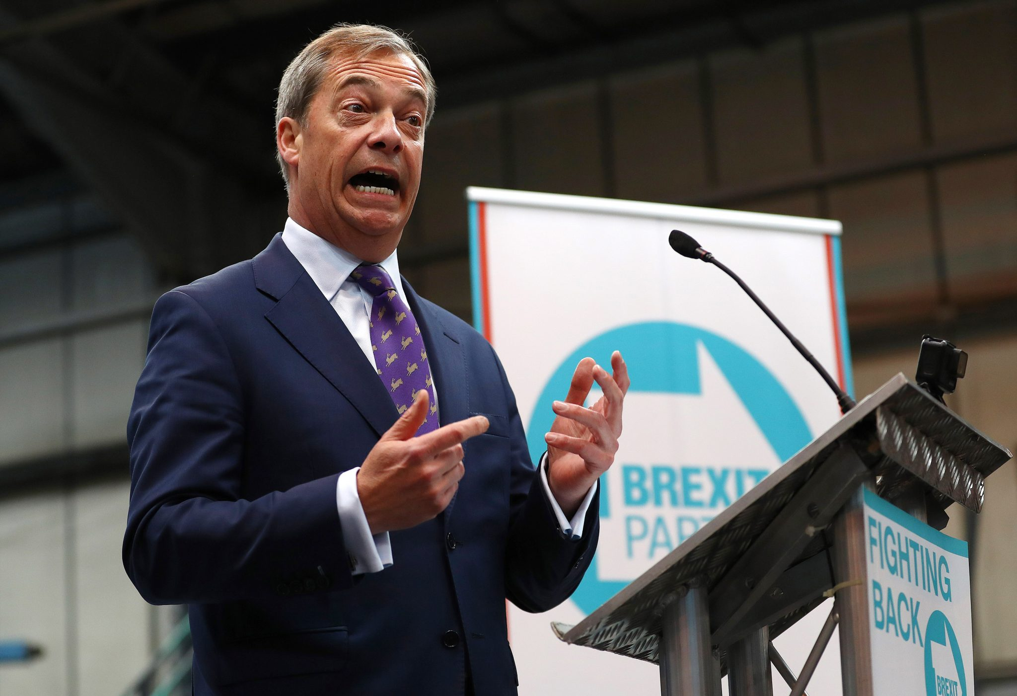 Nigel Farage has bet £1,000 that his Brexit party will secure the most seats (at the European elections Credit: Matthew Lewis)