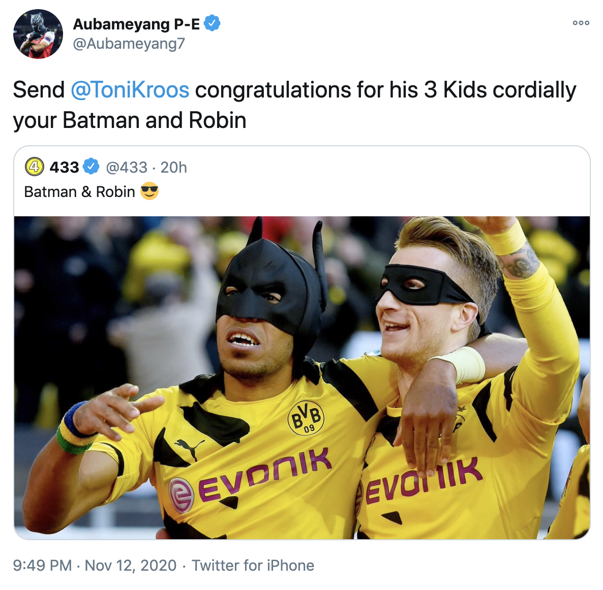 Arsenal's Aubameyang brushes off Kroos criticism of his goal celebrations