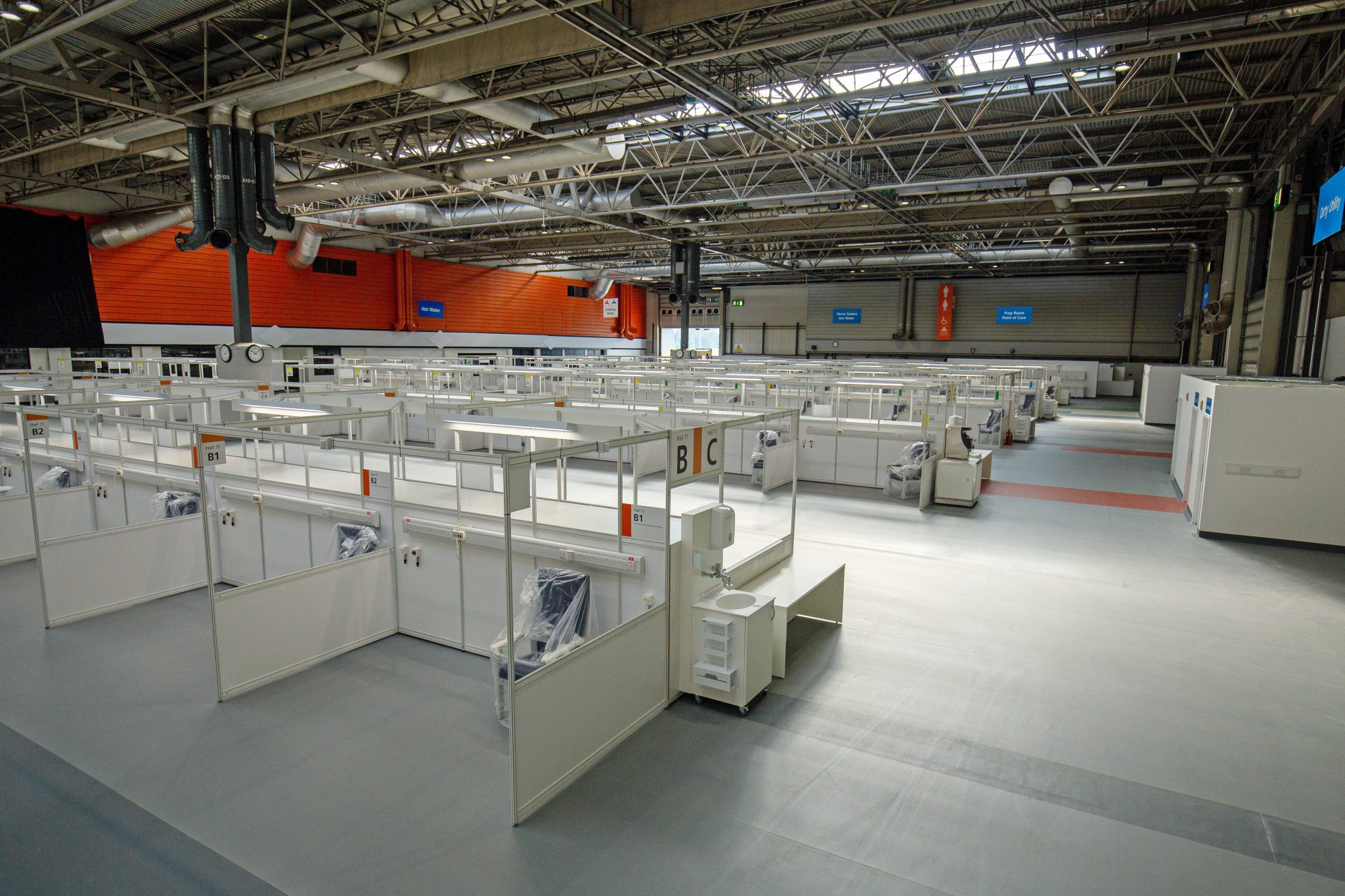 Inside the NHS Nightingale hospital inside London's Excel centre, sits empty